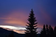 The beautiful colorful sunset in the Durmitor National Park Stock Photos
