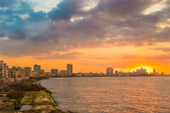Beautiful colorful sunset in Havana. With a view of the ocean and the city skyline Royalty Free Stock Images