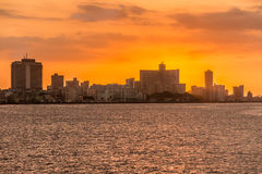 Beautiful colorful sunset in Havana. With a view of the ocean and the city skyline Royalty Free Stock Photos