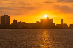 Beautiful colorful sunset in Havana. With a view of the ocean and the city skyline Stock Photography