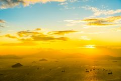 Beautiful colorful sunset in hong kong city skyline stock images