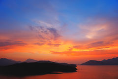 Beautiful colorful sunset over Aegean sea. Greece Royalty Free Stock Photo