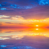 Beautiful colorful sunset over mediterranean sea is reflected in Royalty Free Stock Photography
