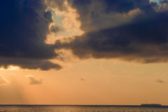 Beautiful colorful sunset in tropical island at Maldives Royalty Free Stock Photography