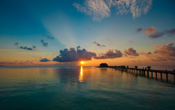Beautiful colorful sunset in tropical island at Maldives Royalty Free Stock Image