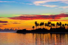 Beautiful colorful sunset in tropical island at Stock Images