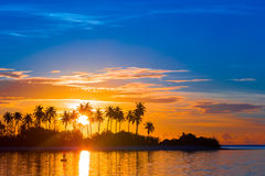 Beautiful colorful sunset at tropical island on Royalty Free Stock Image