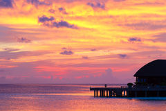 Beautiful colorful sunset at tropical island on Stock Photo