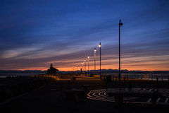 A beautiful colorful sunset view on the Morecambe beach. United Kingdom Royalty Free Stock Image