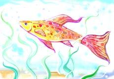 Beautiful colorful swimming fish painting. Artistic painting  of abeautiful  fish at the sea bottom Stock Photo