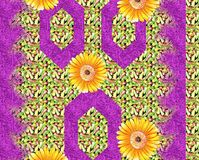 Beautiful colorful textile print design with flower and pattern. Textile print design royalty free illustration