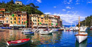 Beautiful colorful towns of Italy - luxury Portofino in Liguria royalty free stock photos