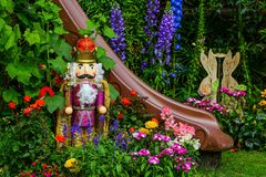Tropical garden with easter decorations. Beautiful and colorful tropical garden in spring with simple easter decorations royalty free stock photos