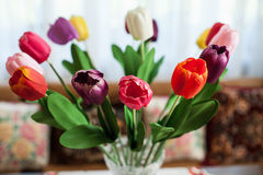 Beautiful colorful tulips in a vase, preparation for a wedding d Stock Images