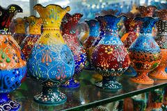 Beautiful colorful vase with traditional Turkish flower ornate royalty free stock photos