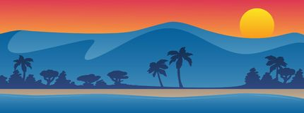 Mountains with beach shoreline summer scene background vector illustration. Beautiful colorful vector graphic featuring blue mountains, a sandy beach, sunset or royalty free illustration
