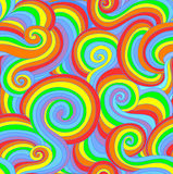 Beautiful colorful vector seamless pattern with curling lines in rainbow colors Stock Image