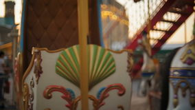 Beautiful colorful vintage carousel at amusement park. Colorful vintage carousel at amusement park stock video