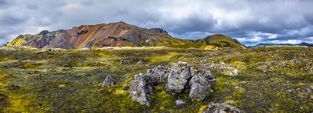Beautiful colorful volcanic mountains Landmannalaugar in Iceland, earth formation stock photos