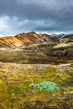 Beautiful colorful volcanic mountains Landmannalaugar in Iceland, earth formation stock image