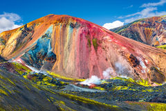 Beautiful colorful volcanic mountains Landmannalaugar in Iceland. Summer time Stock Images