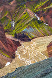 Beautiful colorful volcanic mountains Landmannalaugar in Iceland Royalty Free Stock Images