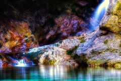 Beautiful colorful waterfall. Beautiful waterfall with nice rich colors stock photography