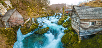 Beautiful colorful waterfalls in the Village Stock Photography