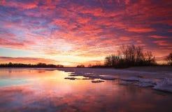 Beautiful colorful winter landscape Stock Photo