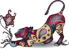 Beautiful colorfull zentangle lion on colorless background stock illustration