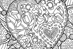 Nice coloring book page with decorative hearts. Beautiful coloring book page with rectangular pattern with hearts stock illustration