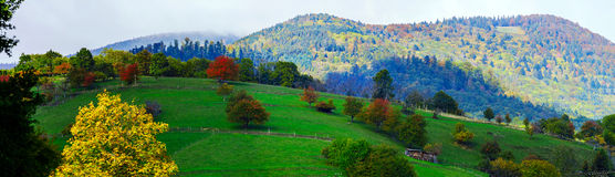 Beautiful colorized autumnal hills and meadows in Alsace Royalty Free Stock Photo