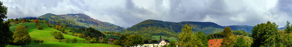 Beautiful colorized autumnal hills and meadows in Alsace Royalty Free Stock Photography