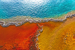 Beautiful colors in a geyser pool, Yellowstone, Wyoming Stock Image
