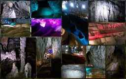 Beautiful  colors of the light in  mountain cave Royalty Free Stock Photos