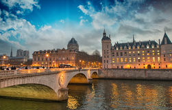 Beautiful colors of Napoleon Bridge at dusk with Seine river - P Royalty Free Stock Images
