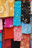 Beautiful colors scarfs. On the market Stock Images