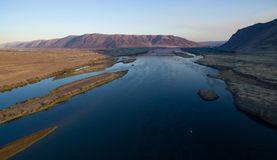 Aeiral View Columbia River Wanapum Lake Village Beverly Washington Stock Photo