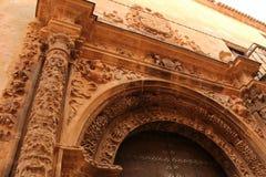 Beautiful and colossal porch in Renaissance house in Alcaraz street, Castile-La Mancha region. Beautiful and colossal porch in Renaissance house in Alcaraz Stock Photography
