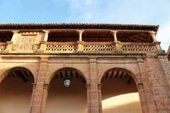 Beautiful and colossal porch in Renaissance house in Alcaraz street, Castile-La Mancha region. Beautiful and colossal porch in Renaissance house in Alcaraz Royalty Free Stock Image
