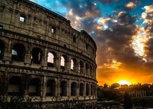 Colosseum of Rome, Italy, on sunset royalty free stock photos