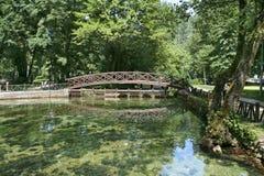 Beautiful colour of spring Bosna river. In Sarajevo, Bosnia and Herzegovina stock image