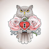 Beautiful colour tattoo design of an owl holding a key with a heart locket and pink roses Stock Image
