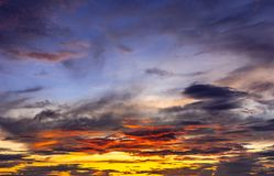Beautiful colourful dramatic sunset cloudy sky. N stock images