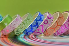 Beautiful Colourful glitter texture designed adhesive tape for art craft. Best tapes can be used for decoration, crafting, art projects, creativity also used for stock photo