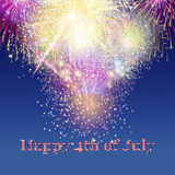 Beautiful colourful holiday fireworks over blue background. Happy 4th of July concept Stock Photo