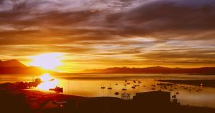 Sunrise at The Worlds End. A beautiful colourful sunrise over the harbour at The Worlds End, Ushuaia Patagonia Royalty Free Stock Images