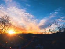 Sunset glowing on the horizon Royalty Free Stock Photo
