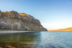 Beautiful  columbia river reflecting the mountain in winter season ,WA Stock Photography