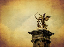 Beautiful column of Pont Alexander III bridge, Paris, France Royalty Free Stock Photography